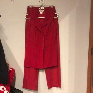 Red Lisa Joe blazer and pants set